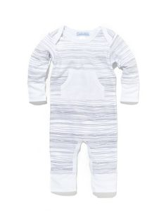 White Stripe Kangaroo Romper by Feather Baby at Gilt
