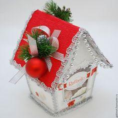 Купить Новогодний подарок - ярко-красный, новогодний домик, габимот, москва, букет из конфет москва