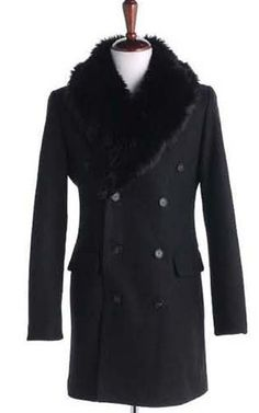 Men Autumn Winter New Style Korean Slim Detachable Fur Collar Black Wool Long Coat M/L/XL@X11b