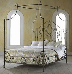 Highland House French Country Couronne King Metal Bed available at Hickory Park Furniture Galleries Canopy Bed Curtains, Metal Canopy Bed, Canopy Bedroom, White Canopy, Metal Beds, Fabric Canopy, Ikea Canopy, Canvas Canopy, Window Canopy