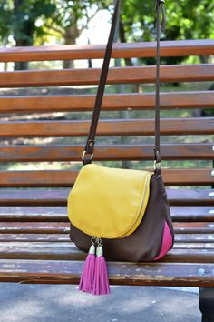 Brown-Yellow Zippered Flap Leather Purse, Leather Shoulder Bag, Leather Crossbody Bag, Handmade Leather Bag, Tassels Leather Bag