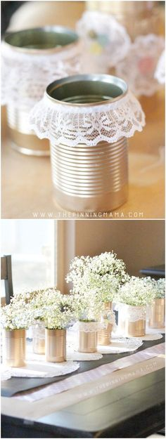 Vintage Wedding Gold and Lace Tin Can Table Centerpiece - How beautiful would this be for a vintage wedding or a shabby chic baby shower or bridal shower? This is an easy to make craft idea that turns into stunning decor! Party Table Centerpieces, Vintage Wedding Centerpieces, Bridal Shower Centerpieces, Rustic Wedding Centerpieces, Centerpiece Ideas, Rustic Bridal Shower Decorations, Baby Shower Table Decorations, Baby Decor, Rustic Table Decorations