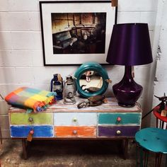 Upcycled 60's drawers that makes a funky TV cabinet!