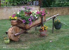 For my garden For my garden - Gartenkunst Ideen Wooden Garden Planters, Flower Planters, Amazing Gardens, Beautiful Gardens, Wood Log Crafts, Wheelbarrow Planter, Log Planter, Garden Cart, Garden Nursery