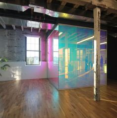 Home Decor Videos Dichroic film finishes at glass walls inside adaptive reuse building. Interior Architecture, Interior And Exterior, Interior Design, Futuristic Architecture, Adaptive Reuse, Window Film, Dichroic Glass, Commercial Interiors, Decoration