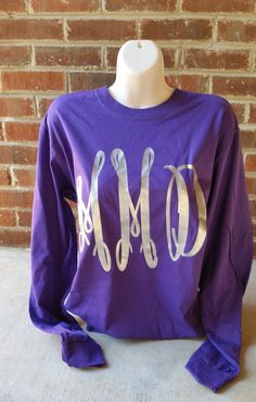 Large Fancy Monogram Long Sleeved Shirt by ElleQDesigns on Etsy