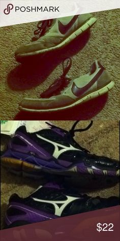 Purple Nike and Mizuno tennis shoes size 8 Used nikes are used a little more than the mizunos but would be good if you need some outdoor shoes! Nike Shoes Sneakers