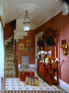 Dollhouse miniature Victorian entrance hall... I have to remember that lamp.