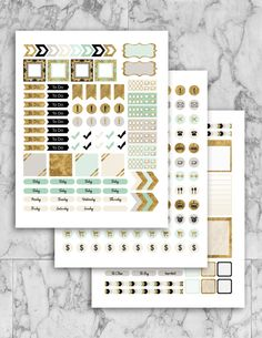 nstant Download Gold Planner Stickers - Printable - Digital Prints //25 Hour Day