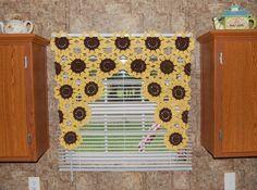 Sunflower Window Valance - Sunflower Curtain - Crochet Flower Kitchen Curtain -  Sunflower Decor - Bathroom Curtain - Kitchen Valance by KnotsaPlenty on Etsy https://www.etsy.com/listing/463982543/sunflower-window-valance-sunflower