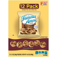Famous Amos Chocolate Chip Cookies 12 Pack 4 Box ** Check out the image by visiting the link. (This is an affiliate link and I receive a commission for the sales) Milk Chocolate Chip Cookies, Semi Sweet Chocolate Chips, Amos Cookies, Yummy Snacks, Snack Recipes, Famous Amos, Bite Size Cookies, Taste Made, Snacks For Work