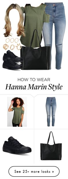 """""""Edgy Hanna Marin inspired outfit with all black Converse sneakers"""" by liarsstyle on Polyvore featuring H&M, Boohoo, Street Level, Converse, school, college and mid"""