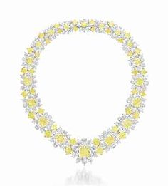 A COLORED DIAMOND AND DIAMOND NECKLACE, BY GRAFF   Set with a graduated series of modified rectangular, cushion and square-cut fancy yellow and fancy light yellow diamonds, to the pear-shaped diamond band, mounted in platinum and gold