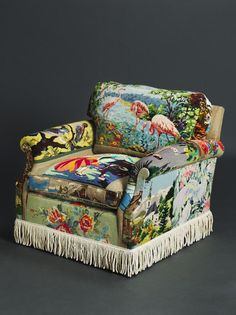 Suzie Stanford's Tapestry Chair - inspired by vintage tea towels is #Amazing #Vintage #Tapestry