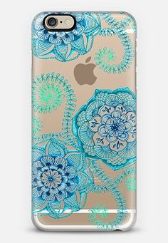 Sweet Teal & Blue Floral Doodle on Transparent iPhone 6 Case | Casetify | Micklyn Le Feuvre