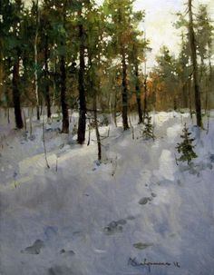 Aleksey Savchenko Painting Snow, Winter Painting, Winter Art, Contemporary Landscape, Landscape Art, Landscape Paintings, Nature Paintings, Beautiful Paintings, Art Paintings