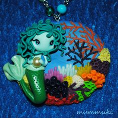 Unique necklace with the Sea Mermaid.  ***  Please note that colors at the picture might be slightly different than original.    Come and visit my blog with my works: http://mummuki2013.blogspot.com    Dont be shy ;) and let me know if want to buy one of my items in different colour or shape - we can negotiate a special order :)