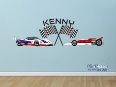 Race car Race Flags and Custom Name Vinyl Wall Decal by WallJems, $32.99