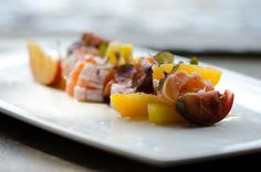 Chef Tyson Cole. Uchi Restaurant. Uchiviche: Texas Peaches, Kumato, Sea Bass, Salmon, Orange, Golden Raisins, and Micro Shiso