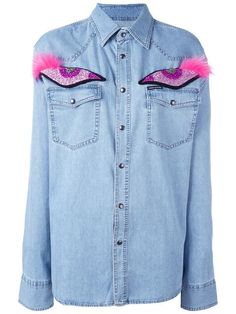 FORTE COUTURE glitter eye appliqué denim shirt. #fortecouture #cloth #shirt