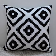 """18*18 """" Modern Black White Abstract Geometric Printed Throw Pillow Case for Bedding"""