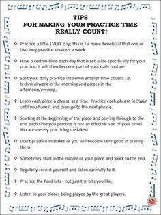 A one page handout of TEN practice tips. FREE download. Display in your music classroom. .