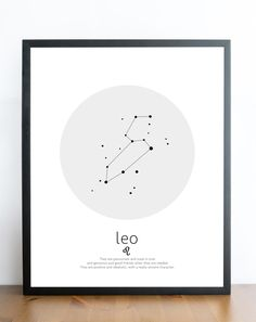 Leo constellation leo art leo print horoscope by RockePrintables