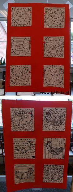 kippen met pen en inkt