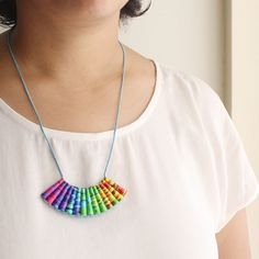 A unique rainbow necklace that makes the perfect lesbian gift Paper Jewelry, Paper Beads, Jewelry Gifts, Lesbian Gifts, Lesbian Pride, Rainbow Pride, Meaningful Gifts, Necklace Lengths, Pendant