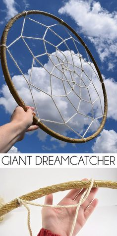 Make a GIANT dreamcatcher out of a hula hoop. How fun is this? Perfect for a statement wall! Make a GIANT dreamcatcher out of a hula hoop. How fun is this? Perfect for a statement wall! Giant Dream Catcher, Dream Catcher Boho, Dream Catchers, Diy Vanity, Diy Dream Catcher Tutorial, Hoop Dreams, Diy Holz, String Art, Wind Chimes