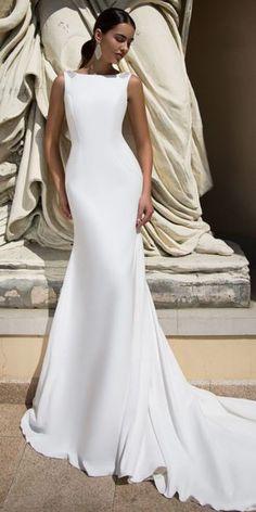 Fashionable Stretch Chiffon Bateau Neckline Mermaid Wedding Dress With  Beadings d60d2c600bf