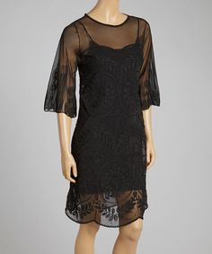 Take a look at the Pretty Angel Black Embroidered Silk-Blend Shift Dress on #zulily today!
