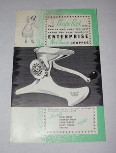 Vtg Enterprise No Clamp Chopper Booklet Recipe Cookbook Grinder Grater Book   ..... We are TOP RATED * POWER Sellers on EBAY * Selling WORLDWIDE. Visit us at our EBAY STORE * 4COOLSTUFF2BUY with any questions or items for sale.