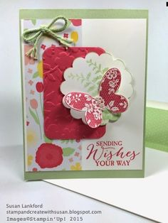 SU! Butterfly Basics stamp set; Butterfly Framelits; Spring Flowers embossing folder; All Abloom DSP; ink and cardstock colors are Strawberry Slush and Pistachio Pudding - Susan Lankford