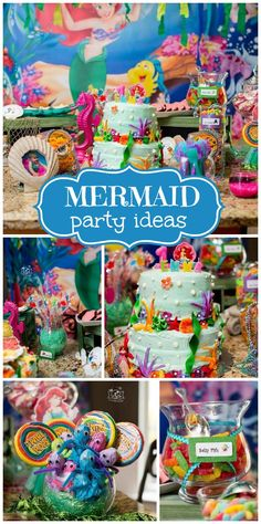 An elaborate Little Mermaid girl birthday party with fantastic party decorations and birthday cake! See more party planning ideas at CatchMyParty.com!