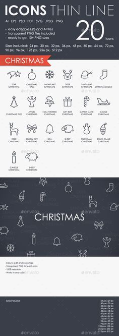 Christmas Thinline Icons by PalauDesign Thin Stroke Line Icons on White Background.Fully editable vector file saved as EPS10. In .eps file is expanded. Perfect for any pr