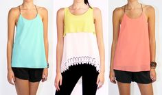 More Summer Arrivals! Ibiza Tank in Blue and Coral and the Coachella Tank in Lemon-Lime... Shop New Arrivals http://www.artsycloset.com/products-page/newarrivals/