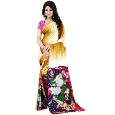 Nice-looking Beige Color Premium Georgette Printed Saree at just Rs.499/- on www.vendorvilla.com. Cash on Delivery, Easy Returns, Lowest Price.