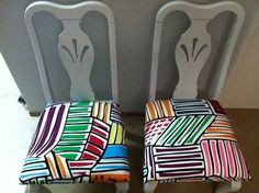 Chair makeover with Ikea fabric (after)