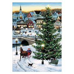 Village Tree - Jigsaw Puzzle By Cobble Hill Outdoor Rink, Christmas Towels, Vintage Christmas Cards, Victorian Christmas, Merry Christmas, Outdoor Christmas, Winter Christmas, Christmas Time, Christmas Ideas