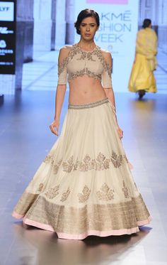 Ivory lehenga with silver embroidery and pastel pink border by Anushree Reddy at Lakme Fashion Week Summer Resort 2016 Indian Fashion Online, India Fashion, Asian Fashion, Women's Fashion, Indian Attire, Indian Wear, Indian Style, Indian Dresses, Indian Outfits