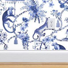 Toile Wallpaper, Chinoiserie Wallpaper, Custom Wallpaper, Wallpaper Designs, Chinoiserie Fabric, Kitsch, Hollywood Regency, Plywood Furniture, Furniture Design