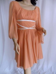 Vintage 60s Silk Chiffon Grecian Revival Goddess Dress Angel Sleeves