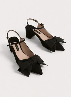 Suede slingbacks with bow - View all - Footwear - Uterqüe Netherlands