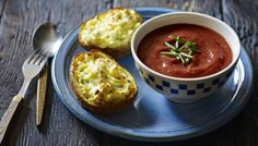 BBC - Food - Recipes : Roasted tomato and thyme soup with double-baked cheese and chive potatoes