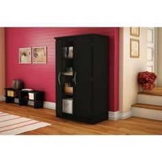 Freeport Wood Laminate Storage Cabinet With Shelves In Pure Black