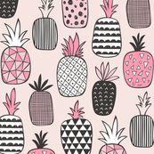 Pineapple Geometric on Pink by caja_design