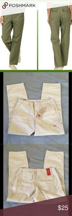 Levi's Utility Chinos Pants Size 27 Levi's off white Chinos Pants Size 27. NWT. Found a stain in front that will go away when washed. Thanks for stopping by. Happy to answer any questions for you. Levi's Pants