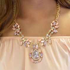 Gatsby Pink Crystal Statment Necklace