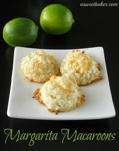 Margarita Macaroons are a delicious twist on this classic cookie! by www.asweetbaker.com on www.whatscookingwithruthie.com #cookies #recipes